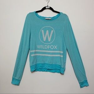 Wildfox Blue & White Oversized Sweatshirt, Size XS
